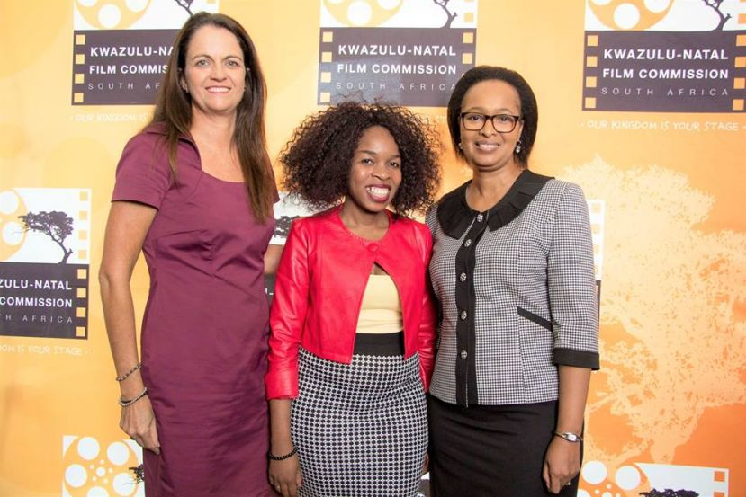 KZN Film Commission Carol Coetzee with filmmaker Bonie Sithebe and KZNFC COO Jackie Motsepe.