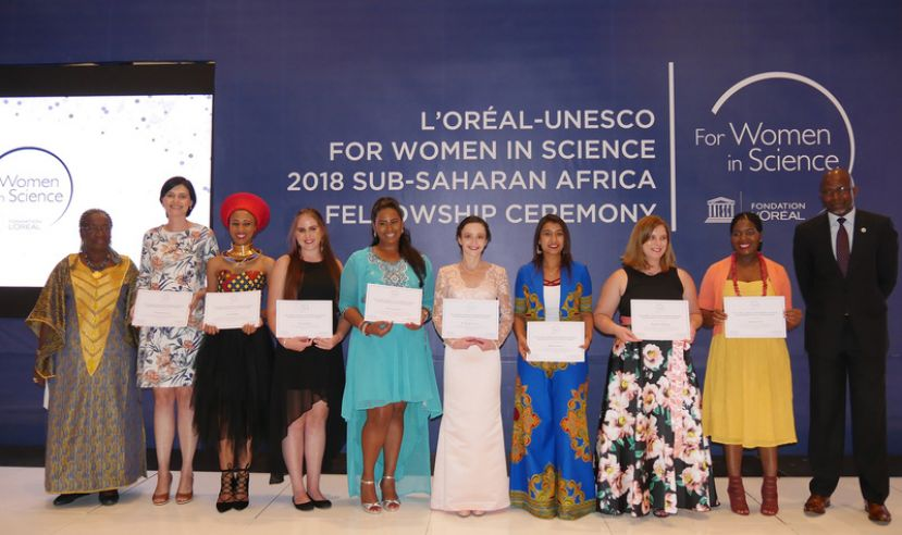 The South African fellows (from left) Charlene Goosen, Lerato Hlaka, Andrea Wilson, Shalena Naidoo, Marilize Everts, Harshna Jivan, Madelien Wooding and Takalani Cele, with Professor Rose Leke, Professor of Immunology and Parasitology at the University of Yaounde in Cameroon (far left), and Professor Nelson Torto, executive director of the African Academy of Sciences (far right).