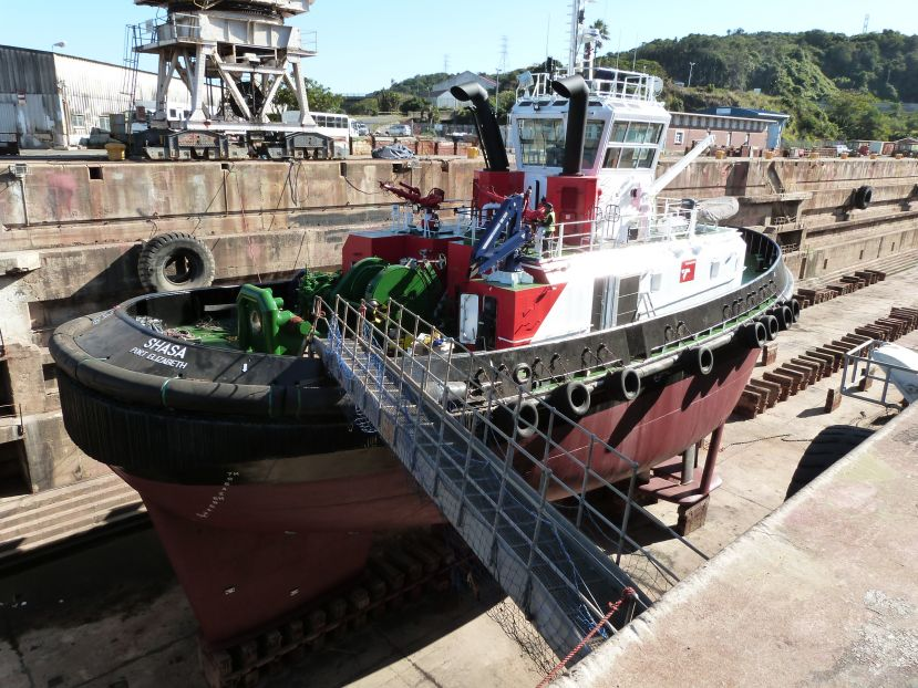 Tug SHASA getting a facelift in the Princess Elizabeth Graving Dock in the Port of East London.