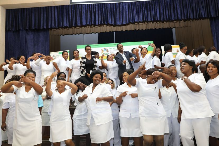 MEC Dhlomo with some of the 300 nurses