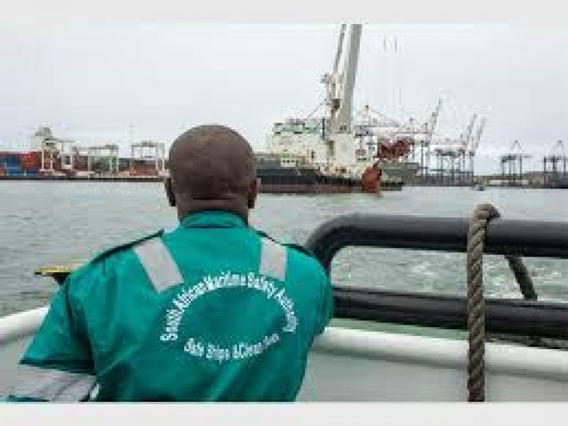 Captain Hopwell Mkhize from SAMSA coordinating the clean up process at the Durban Harbour