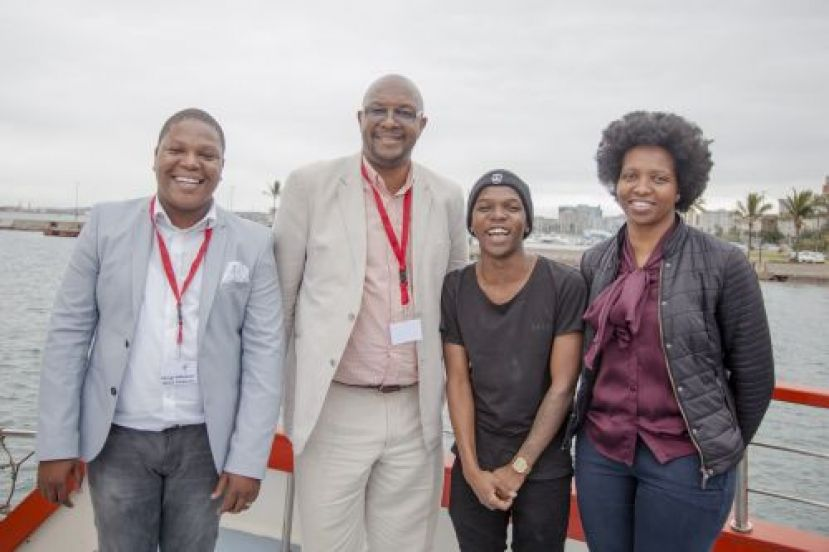 At the launch of the Durban Port Festival Media were Mongi Mbokazi (event organising team), Moshe Motlohi (TNPA's Port Manager: Port of Durban), DJ Thukzin and Nompumelelo Kunene (TNPA Media Relations Manager at the Port of Durban)